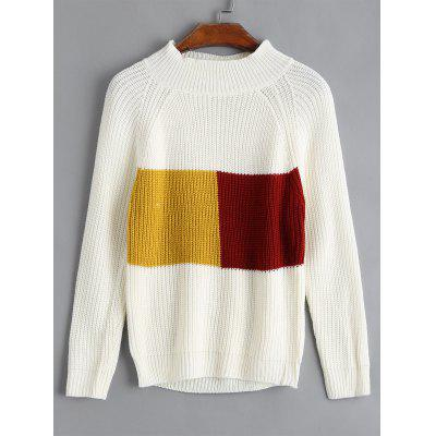 Mock Neck Color Block Ribbed Sweater