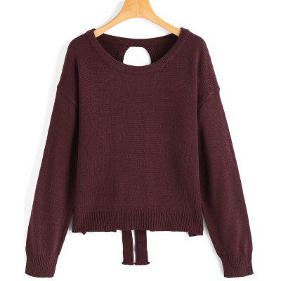 Lace Up Cut Out Pullover Sweater
