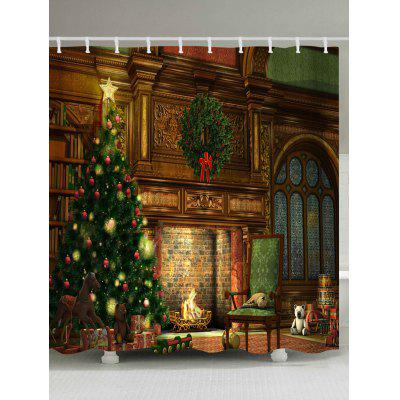 Christmas Fireplace Print Waterproof Shower Curtain
