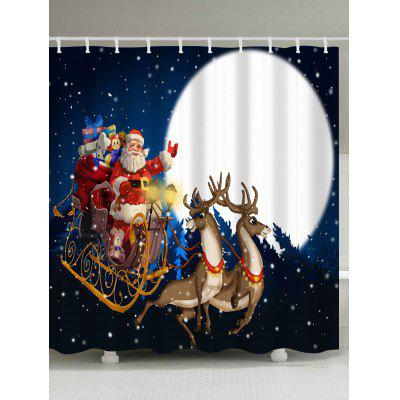 Christmas Sled Moon Night Waterproof Bath Curtain