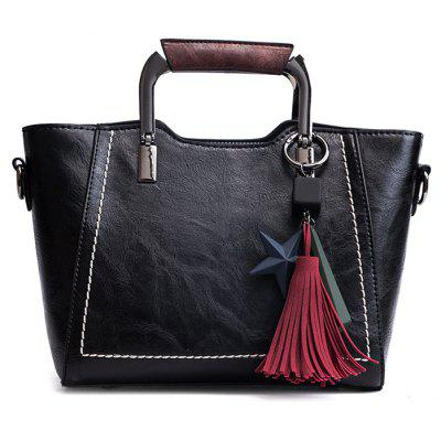 Faux Leather Top Zip Tassels Satchel