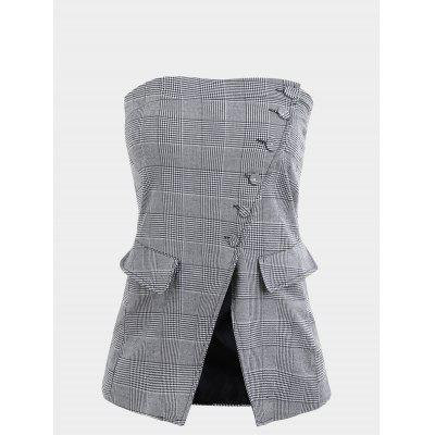 Checked Button Up Tube Top