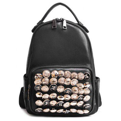 Faux Leather Small Rivets Backpack