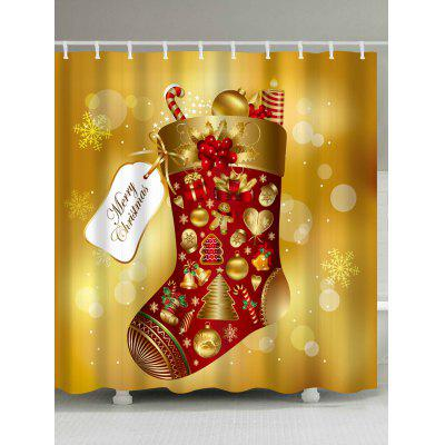 Christmas Sock Print Polyester Waterproof Shower Curtain