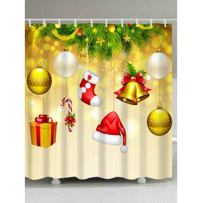 Christmas Ornaments Hat Sock Waterproof Bath Curtain