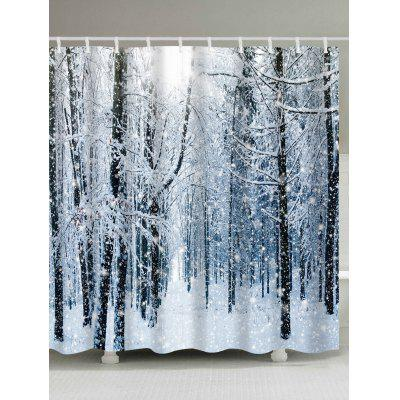 Christmas Snow Forest Print Waterproof Shower Curtain