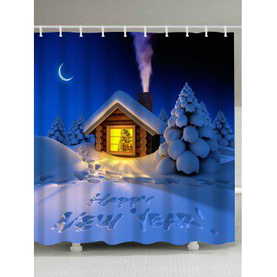 Christmas Eve Log Cabin Waterproof Shower Curtain