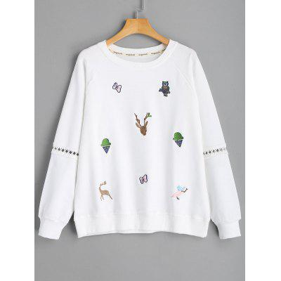 Embroidered Hollow Out Sweatshirt