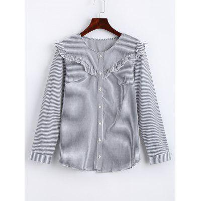 Stripes Button Up Ruffles Shirt