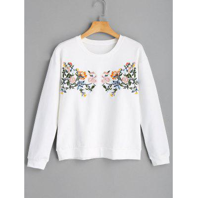 Flower Embroidered Casual Sweatshirt