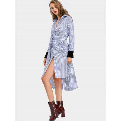 Buy STRIPE Side Slit Velvet Panel Striped Belted Dress for $34.86 in GearBest store