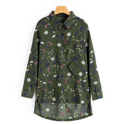 Buy ARMY GREEN L Floral Print Faux Pockets High Low Shirt for $23.21 in GearBest store