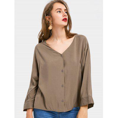 Button Up Criss Cross Loose Blouse