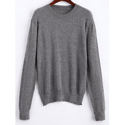 Frayed Stretchy Pullover Sweater