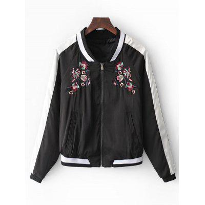 Floral Embroidered Two Tone Souvenir Jacket