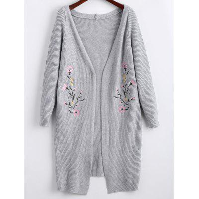 Floral Embroidered Long Open Front Cardigan