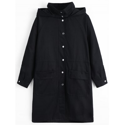 Snap Button Pockets Hooded Coat