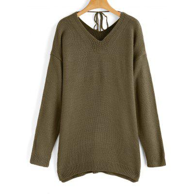 Buy ARMY GREEN V Neck Oversized Side Slit Sweater for $26.97 in GearBest store