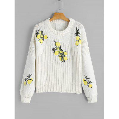 Lemon Embroidered Loose Pullover Sweater