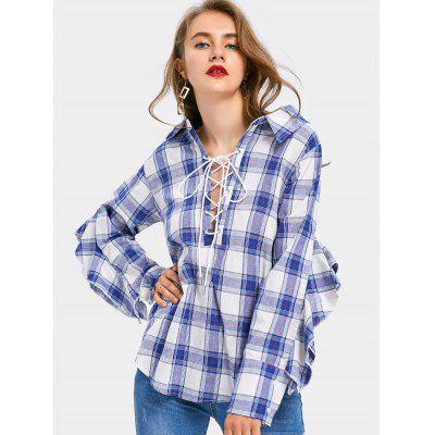 Buy CHECKED XL Ruffle Trim Lace Up Checked Blouse for $26.24 in GearBest store