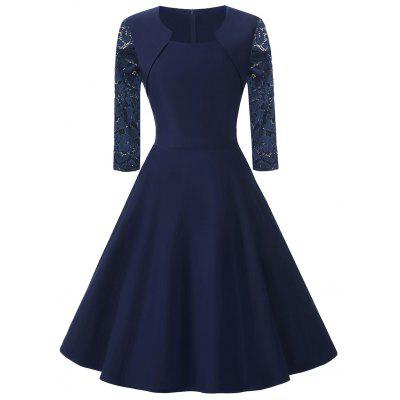 Buy PURPLISH BLUE 2XL Lace Sleeve Vintage Fit and Flare Dress for $32.94 in GearBest store