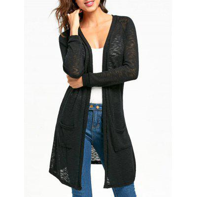 Buy BLACK XL Raglan Sleeve Open Front Tunic Cardigan for $21.48 in GearBest store