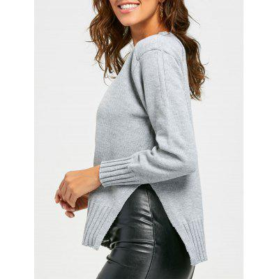 Side Slit High Low Crew Neck Sweater