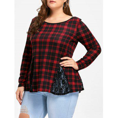 Plus Size Lace Panel Criss Cross Long Sleeve Plaid T-shirt
