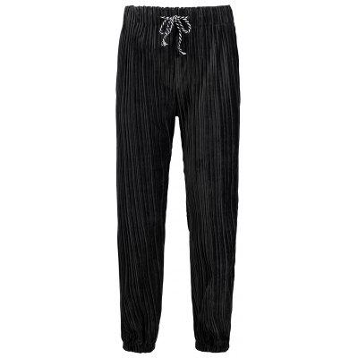 Plus Size Velvet Pleated Jogger Pants