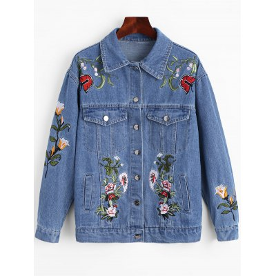 Floral Patched Denim Jacket with Pockets