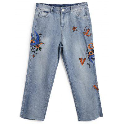 Embroidered Bleach Wash Capri Jeans