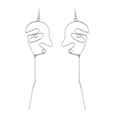 Hollow Face Bar Drop Earrings