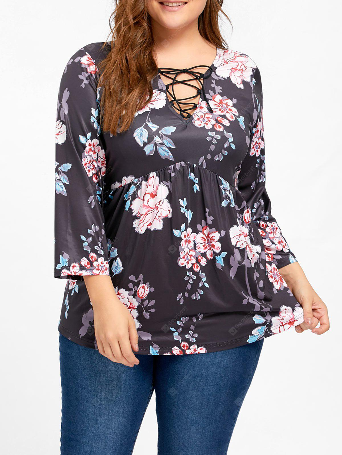 Lace Up Floral Print Plus Size Tee