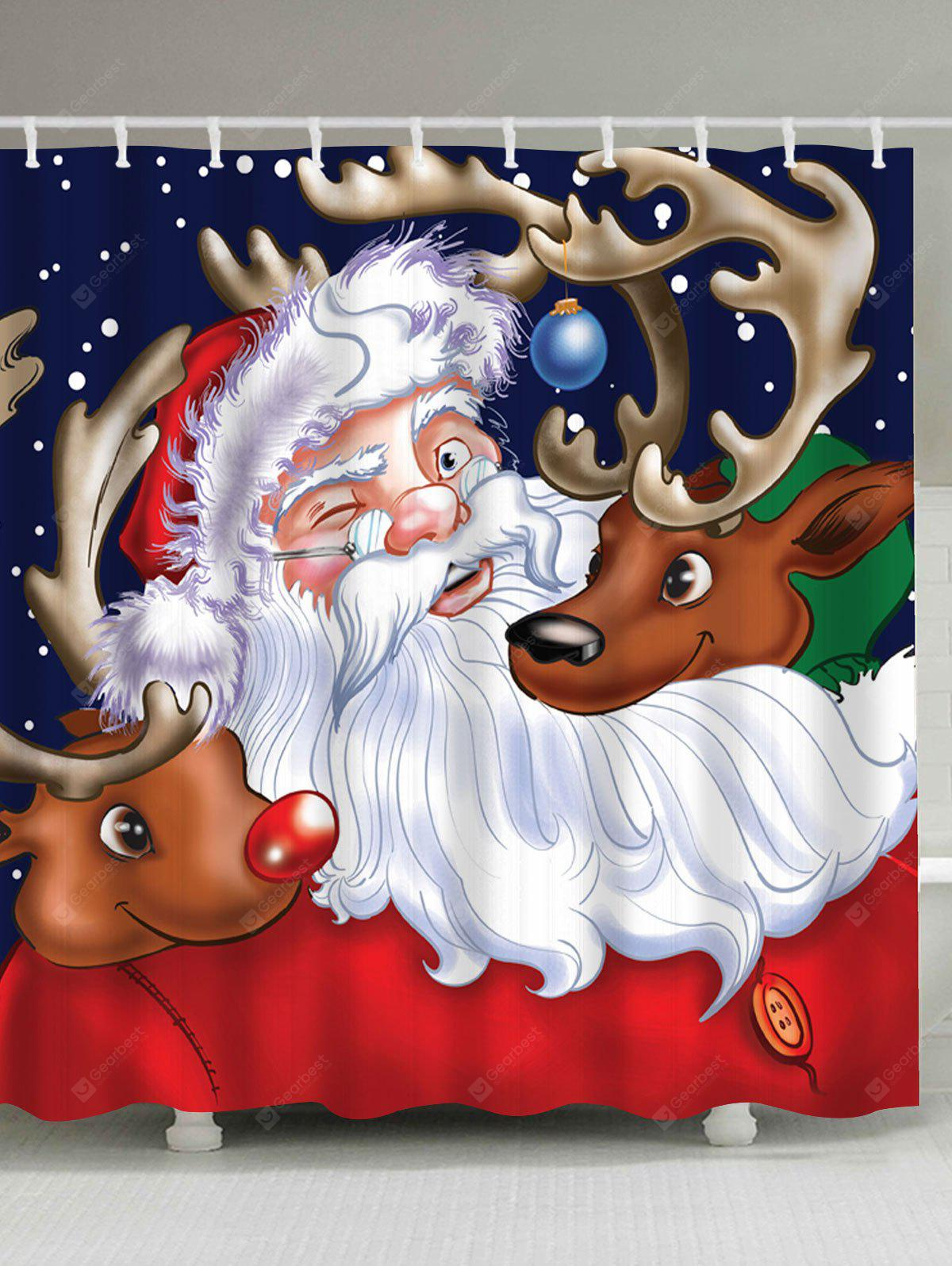 Santa Claus Reindeer Christmas Waterproof Shower Curtain