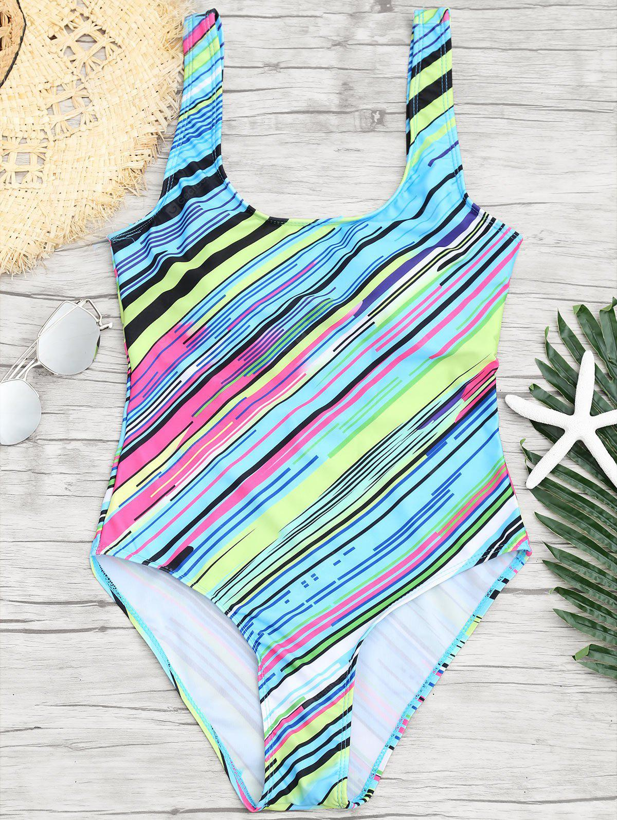 Open Back Striped One Piece Swimsuit