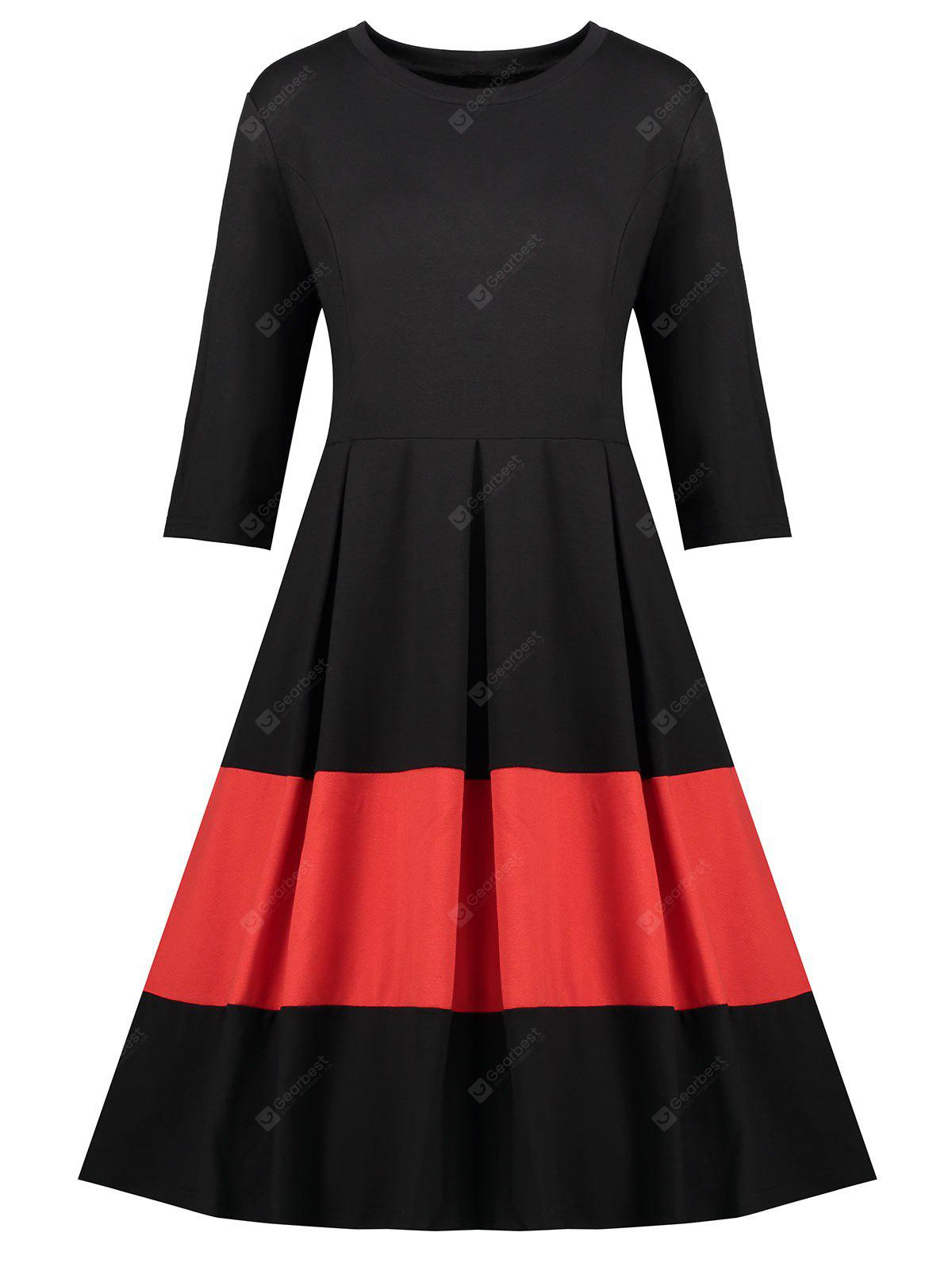 Plus Size Color Block Vintage Dress