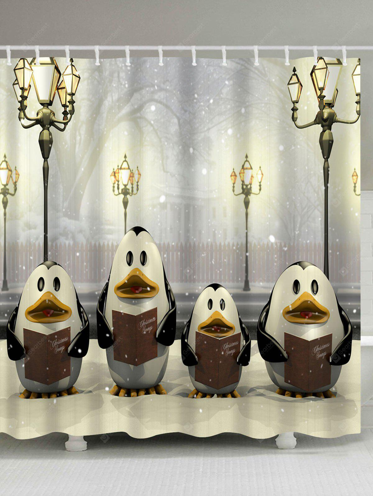 Christmas Street Lamp Penguin Waterproof Bath Curtain
