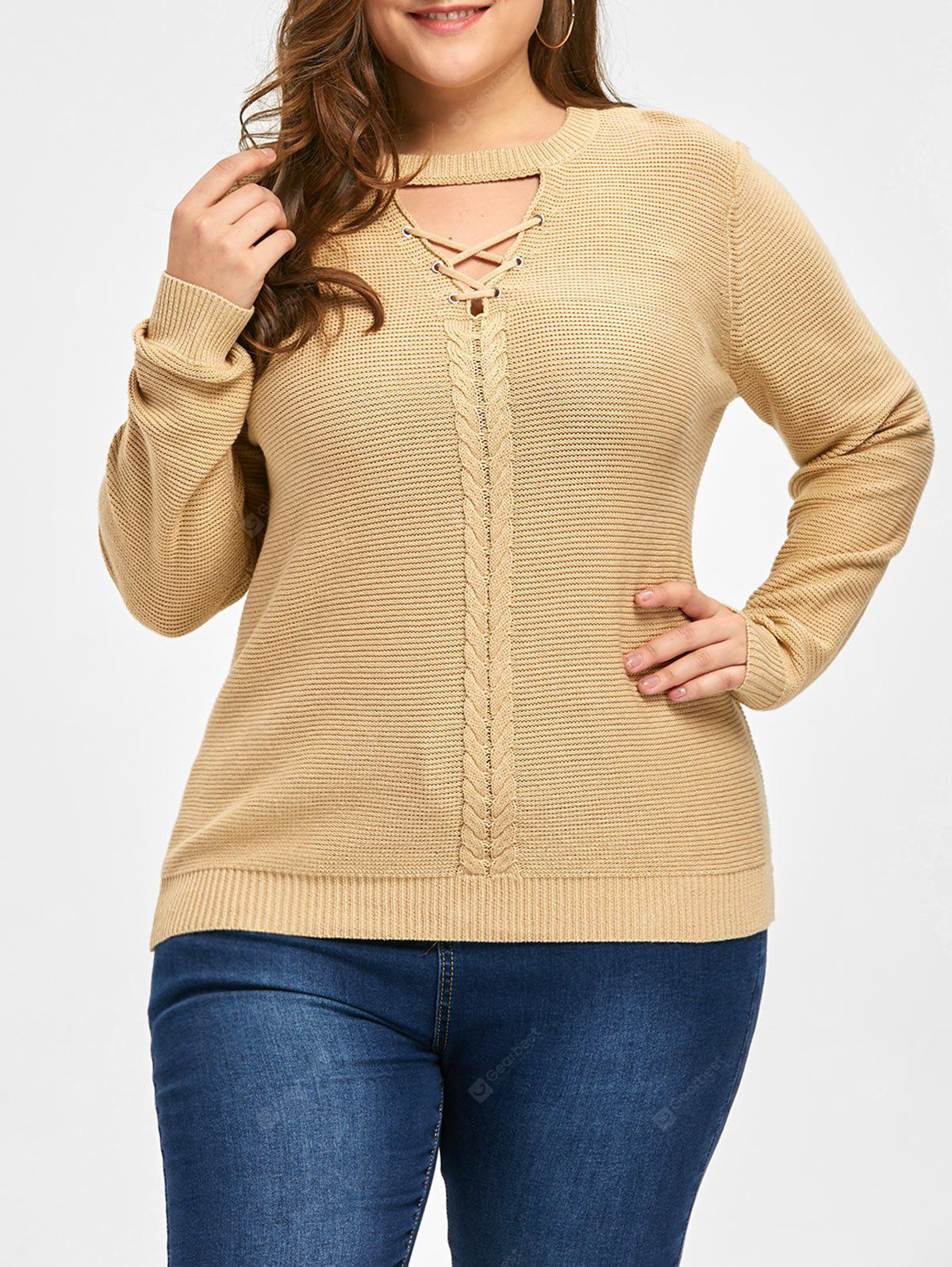 Plus Size Criss Cross Cable Knit Sweater