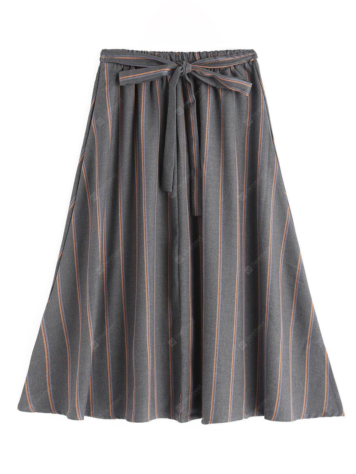 Striped Self Tie Bowknot Flare Skirt