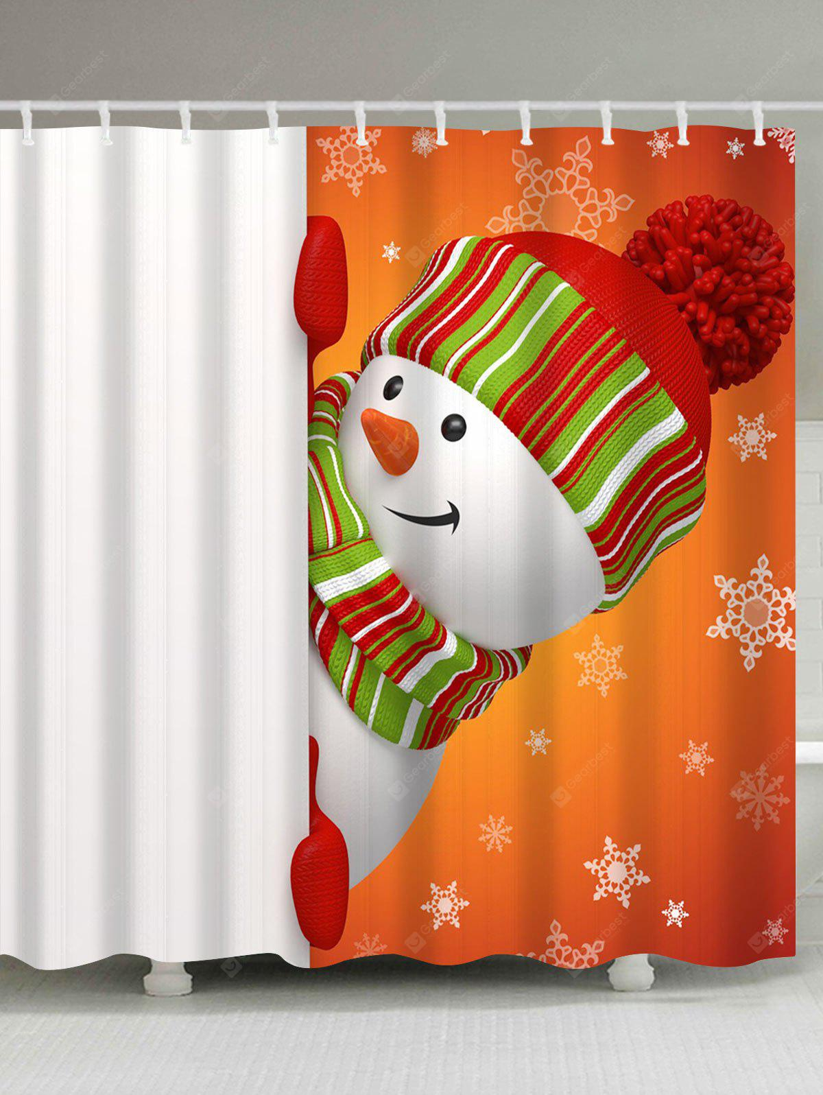 Christmas Naughty Snowman Waterproof Bath Curtain