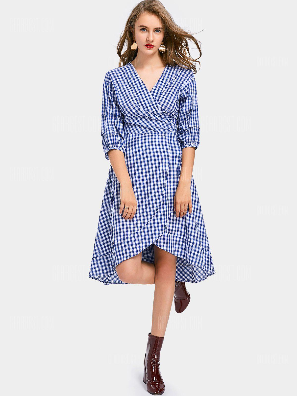 V Neck Checked Asymmetric Wrap Dress