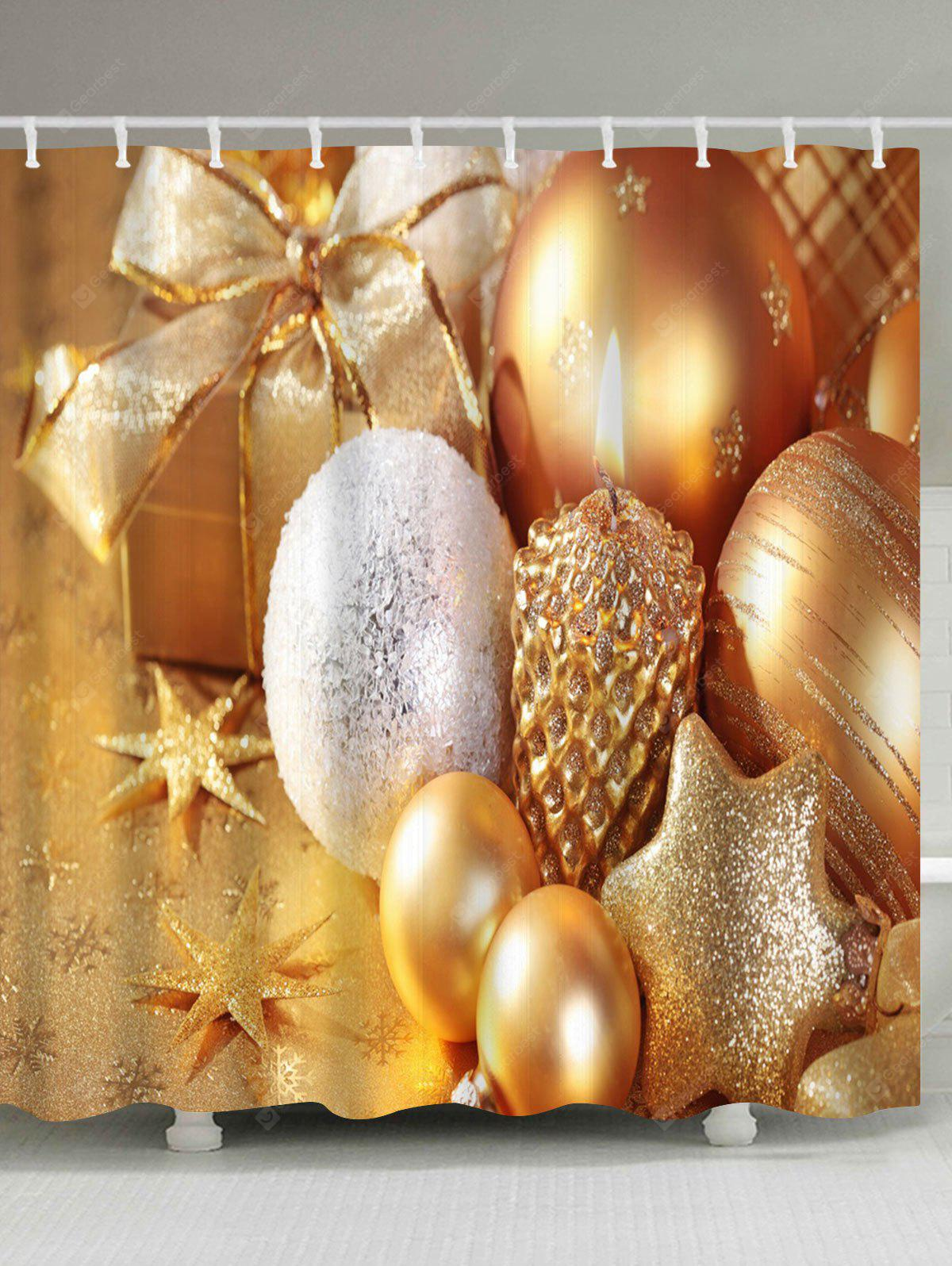 Christmas Candle Ornaments Waterproof Shower Curtain