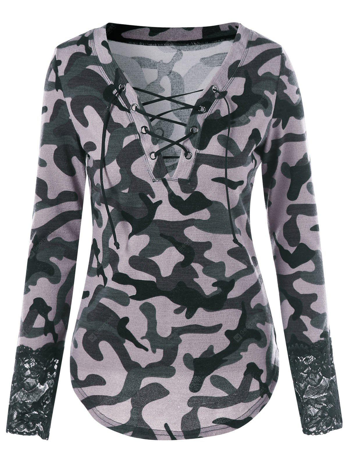 Lace Up Camouflage Lace Panel T-shirt