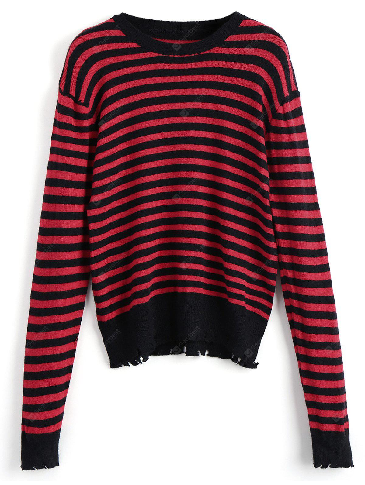 Frayed Stripes Pullover Sweater