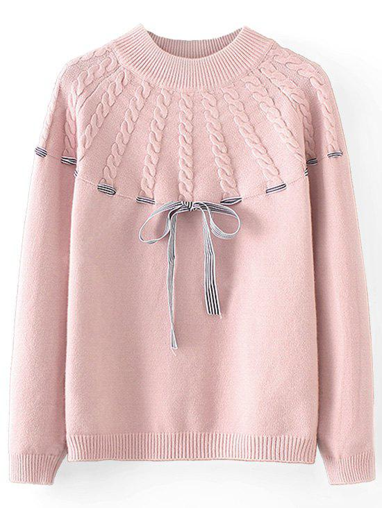 Cable Knit Panel Bowknot Pullover Sweater