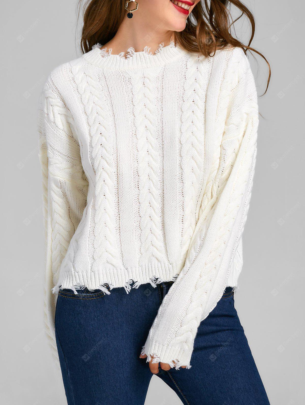 Cable Knit Frayed Sweater