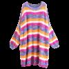 Fuzzy Colorful Stripes Pullover Sweater - STRIPE
