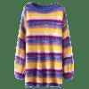 Oversized Stripes Longline Pullover Sweater - STRIPE