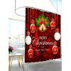 Christmas Ornaments Print Waterproof Bath Curtain - RED