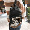 Faux Leather Small Rivets Backpack - BLACK